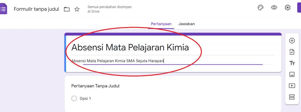 Google Form - Isi Judul Deskripsi