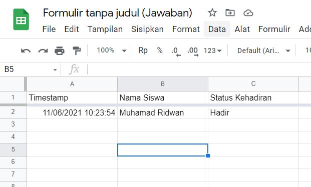 Tampilan Jawaban Google Form di Google Spreadsheet