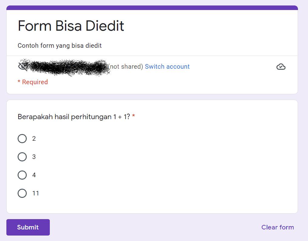 Isian Google Form
